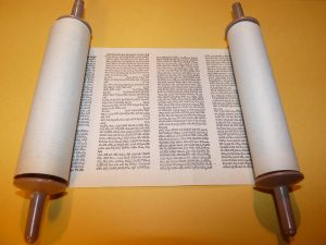 Torah Scroll partly unrolled.