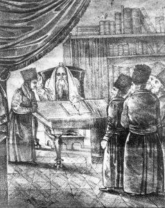 Rebbe Yisroel Hopsztajn, a great promulgator of Hasidism in Poland, blessing acolytes c 1800. Hasidism gave the elite Tzadik a social mystical role