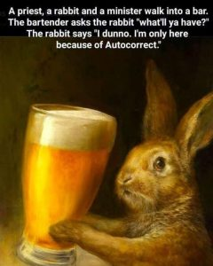 "An image of a rabbit with a glass of beer. Title says, ""A priest, a rabbit and a minister walk into a bar. The bartender asks the rabbit ""what'll ya have?"" The rabbit says ""I dunno. I'm only here because of Autocorrect."""""