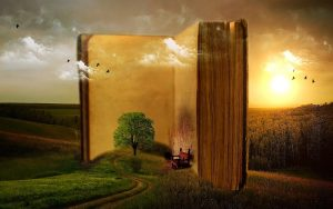 Surrealist painting of a book in landscape