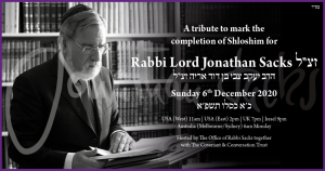 An image of Rabbi Sacks with information about Shloshim observance